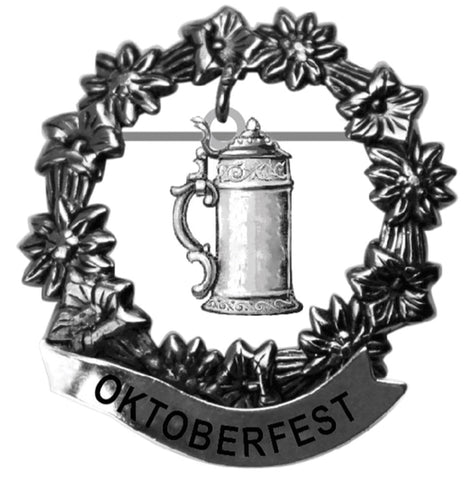 Oktoberfest Beer Stein Medallion Hat Pin for German Hat