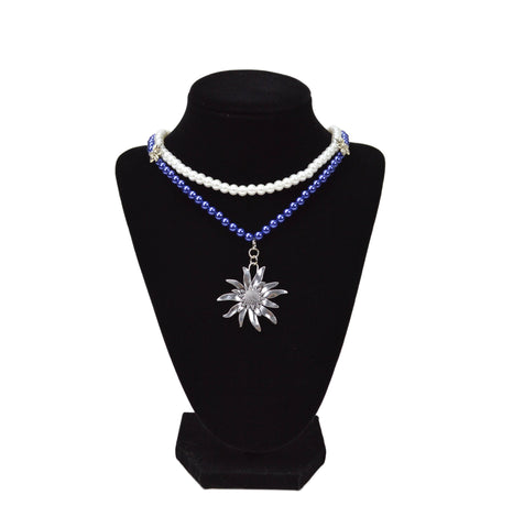 Blue & White Pearl German Costume Edelweiss Necklace -1- GermanGiftOutlet.com -