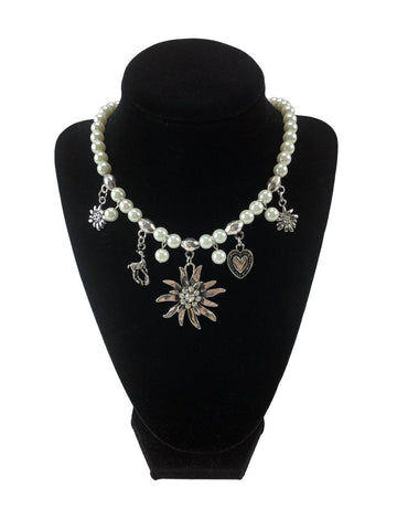 Oktoberfest Costume Edelweiss and Pearls Necklace Jewelry - 1 - GermanGiftOutlet.com