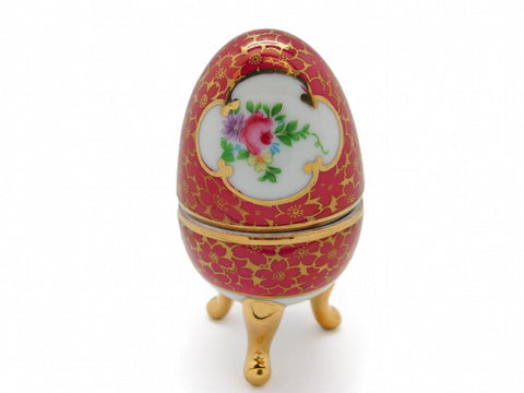 Vintage Victorian Antique Egg Jewelry Box Antique Red - GermanGiftOutlet.com  - 1