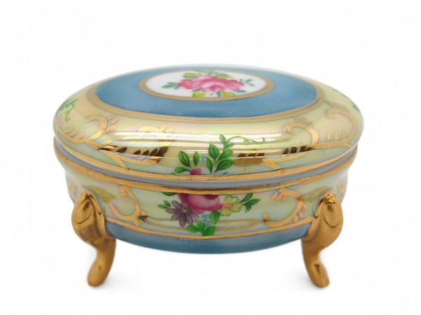 Vintage Victorian Antique Oval Jewelry Box Deluxe Gold - GermanGiftOutlet.com  - 1