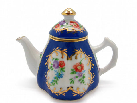 Vintage Victorian Antique Tea Pot Jewelry Box Royal Blue - GermanGiftOutlet.com  - 1