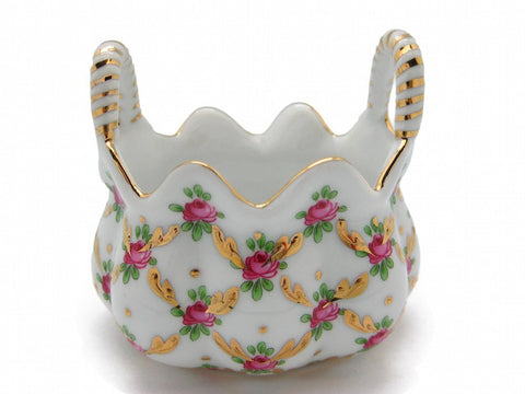 Vintage Victorian Antique Basket Jewelry Box Desert Rose - GermanGiftOutlet.com  - 1