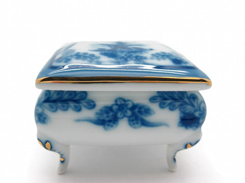 Vintage Victorian Antique Square Jewelry Box Delft Blue - GermanGiftOutlet.com  - 1