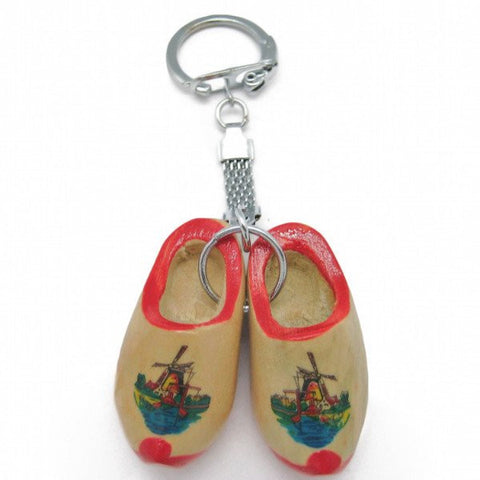 Dutch Gift Idea Wooden Shoes Keychain Natural - GermanGiftOutlet.com  - 1