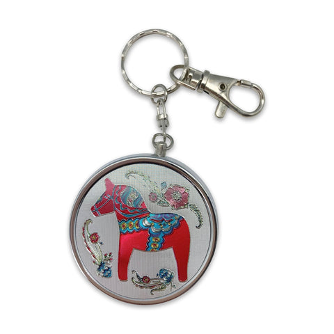 Red Dala Horse Metal Round Pill Box Keychain-KE02