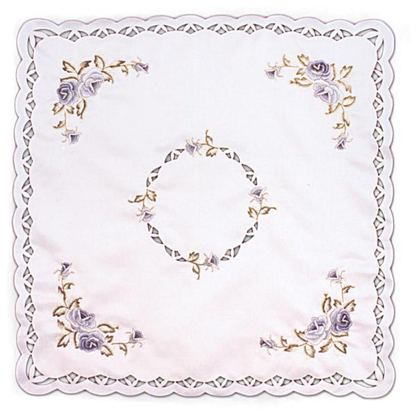 Embroidered Blue Rose European Themed Square Table Linen-LI02