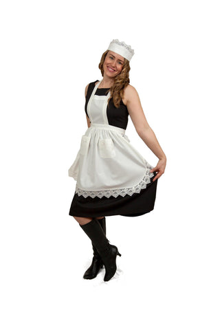 """Maid Costume"" White Lace Headband and Small Ecru (Off White) Full Lace Apron Costume Set - GermanGiftOutlet.com  - 1"