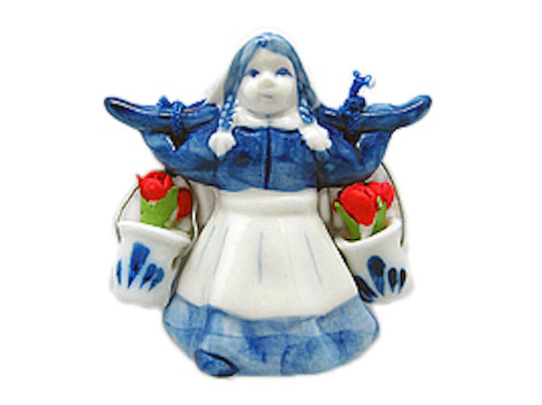 Dutch Gift Magnet Delft Girl with Tulips - GermanGiftOutlet.com  - 1