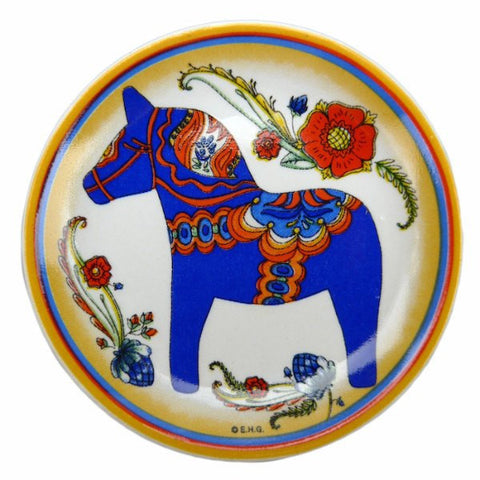 Blue Dala Horse Fridge Magnet Plate - GermanGiftOutlet.com