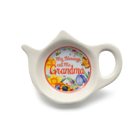"""My Blessings Call Me Grandma"" Teapot Magnet with Flower Design - GermanGiftOutlet.com"