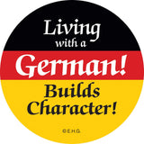 Magnetic Button: Living with German - GermanGiftOutlet.com