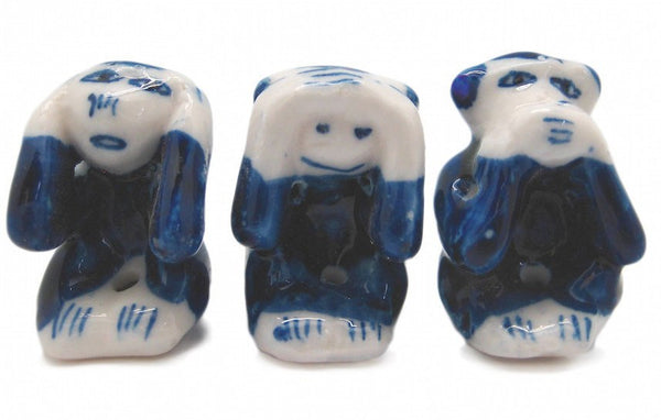 Ceramic Miniatures Animals Delft Blue Monkey - GermanGiftOutlet.com  - 1