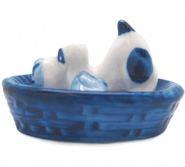 Miniature Animals Delft Blue Ceramic Dog Basket - GermanGiftOutlet.com  - 1