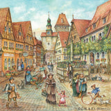 German Gift Magnet Tile Village Street Scene - GermanGiftOutlet.com  - 1