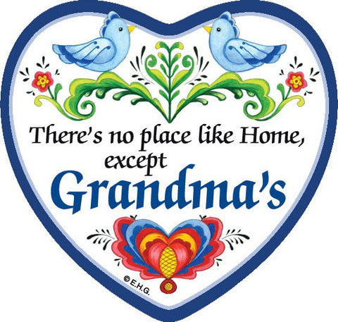 """There's No Place Like … Grandma's"" Heart Magnet Tile - GermanGiftOutlet.com"