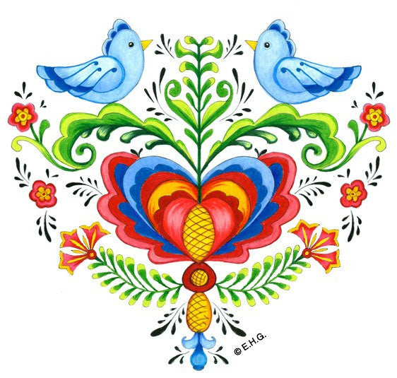 Tile Magnet: Lovebirds & Rosemaling - GermanGiftOutlet.com  - 1