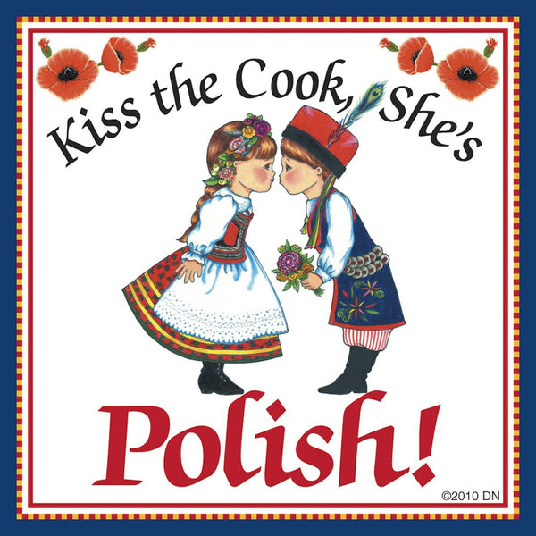 "Polish Gift Magnet Tile ""Kiss Polish Cook"" - GermanGiftOutlet.com  - 1"