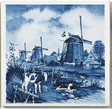 Dutch Landscape Fridge Tile Delft Calves/Windmill - GermanGiftOutlet.com  - 1