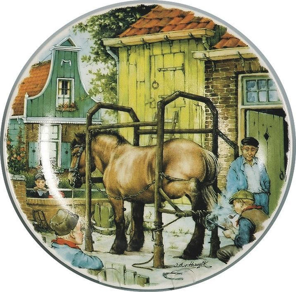 Collectible Plate Children and BlackSmith Blue - DutchGiftOutlet.com