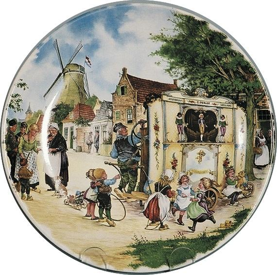 Dutch Organ Grinder Color Collector Plates - $10 - $20, Collectibles, CT-210, Decorations, Dutch, Home & Garden, Kitchen Decorations, Plates, Tiles-Scenic Plates, Van Hunnik, Windmills