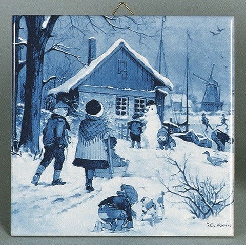 Dutch Tile Delft Blue Dutch Skaters - GermanGiftOutlet.com
