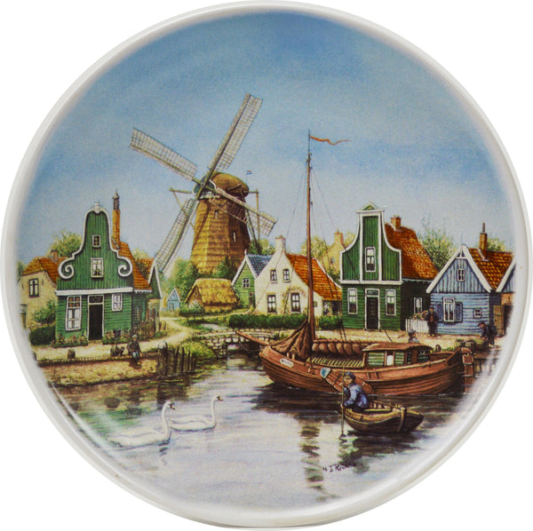 Swan Village Color Collector Plates - $10 - $20, Collectibles, CT-210, Decorations, Dutch, Home & Garden, Kitchen Decorations, Plates, Tiles-Scenic Plates, Van Hunnik, Windmills