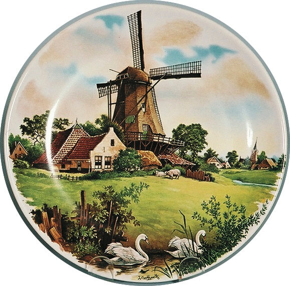 Collectible Plate Windmill & Swan Color - GermanGiftOutlet.com