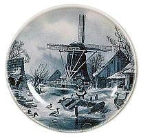 Collectible Plates Winter Scene Blue