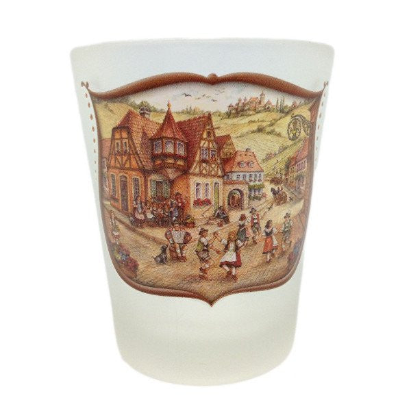 German Shot Glass Village Dancers Frosted - GermanGiftOutlet.com