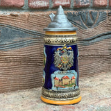 Engraved Beer Stein German Landmarks Metal Lid