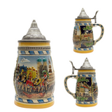 Engraved Beer Stein Munich Scene Metal Lid