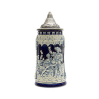 German Castle Cobalt Blue Beer Stein with Lid