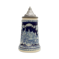 Bavarian Castle Engraved Ceramic Beer Stein with Ornate Metal Lid