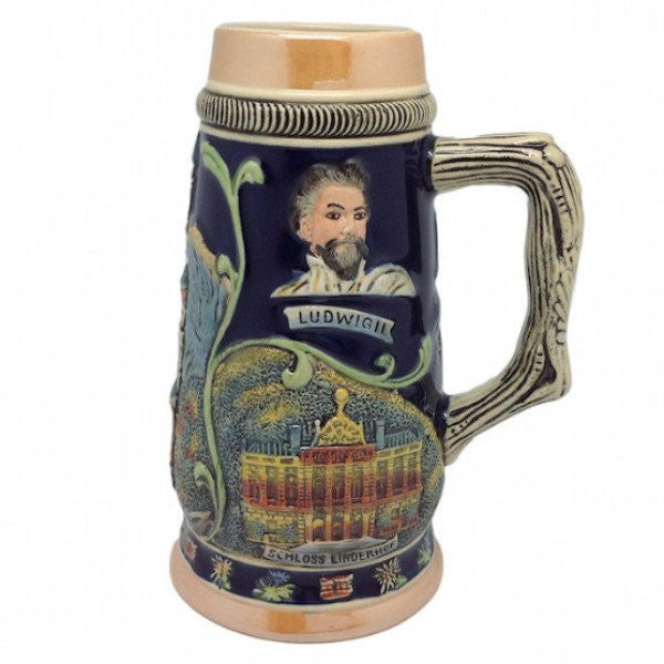 German Wedding Gift Ideas: Ceramic Beer Stein Ludwig Theme No/Lid