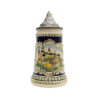 Bavarian Castle Engraved Ceramic Beer Stein w/Lid