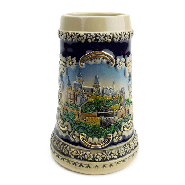 Bavarian Castle Engraved Ceramic Beer Stein no/Lid