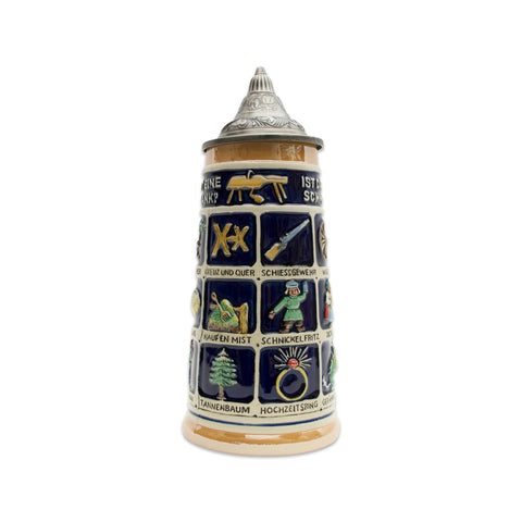 Schnitzelbank Song Collectible Custom Beer Stein .9L with Lid