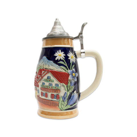Engraved Beer Mug Alpine Village Beer Stein .75L with Lid