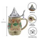 German Lederhosen Beer Stein with Lid