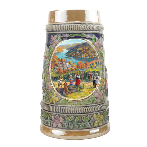 German Fall Ceramic Shot Beer Stein Collectible -1