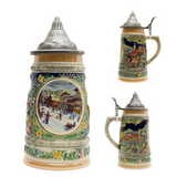 German Winter .5L Stein with Embossed Metal Lid