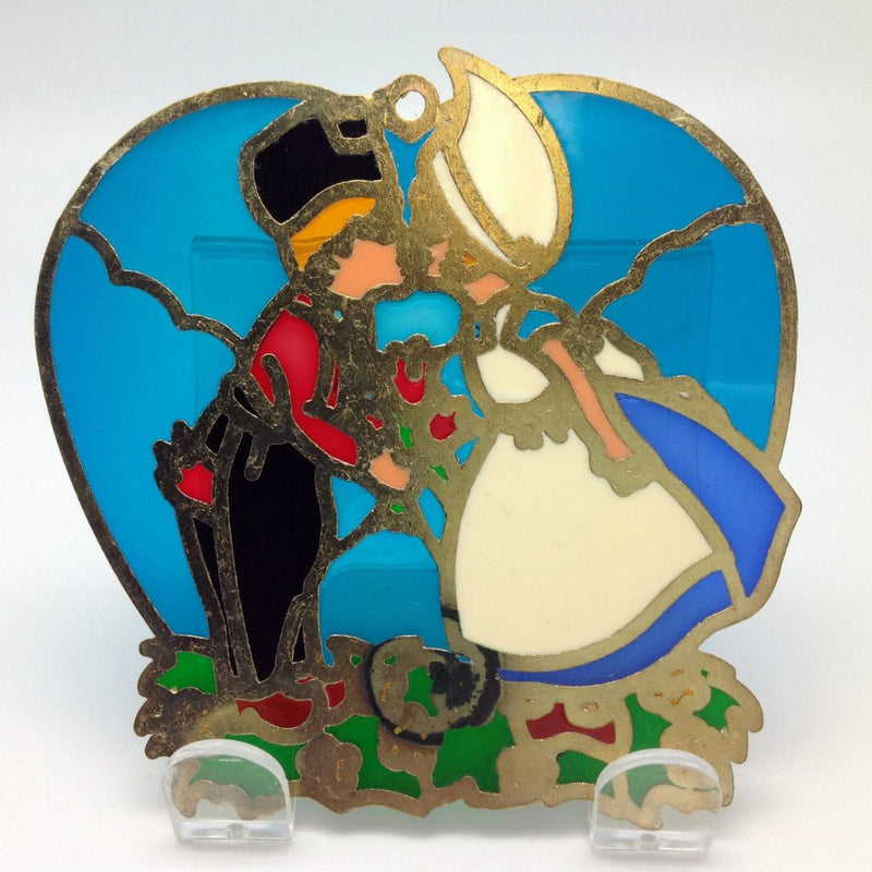Kissing Couple in Blue Heart Shaped Sun Catcher - GermanGiftOutlet.com  - 2