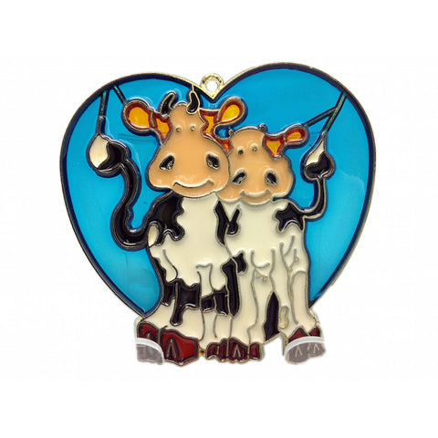 Blue Heart Shaped Sun Catcher with Cuddling Cows