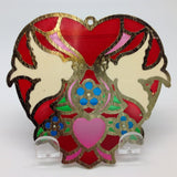 Red Heart Shaped Sun Catcher with Kissing Lovebirds - GermanGiftOutlet.com  - 2