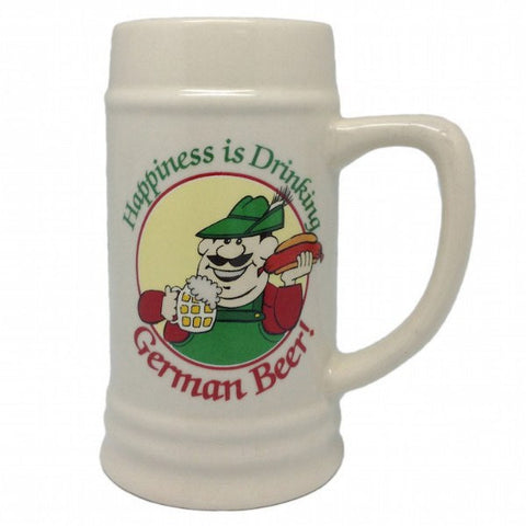 Ceramic Beer Stein Happiness Drinking German - GermanGiftOutlet.com  - 1