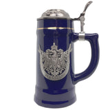 German Eagle Beer Mug .75L Cobalt Blue Medallion Stein w/ Lid