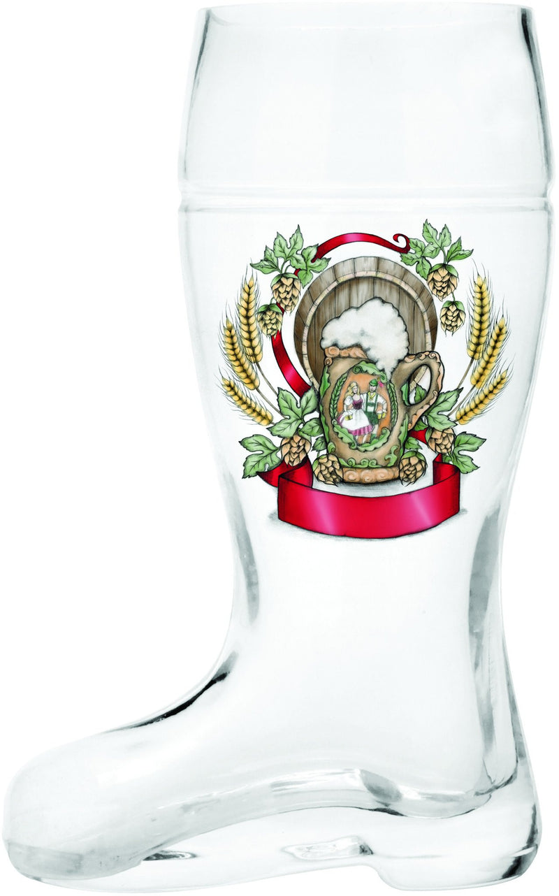 Glass Beer Boot: Harvest Crest - GermanGiftOutlet.com  - 1