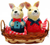 Animal Salt and Pepper Shakers Rabbits Basket - GermanGiftOutlet.com  - 1