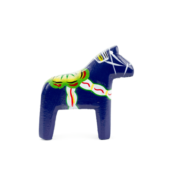 "Swedish Dala Horse Wood Figurine Blue (2"") - GermanGiftOutlet.com"